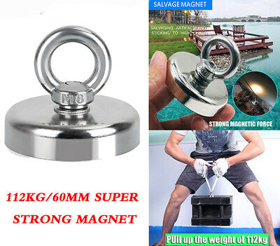 FISHING MAGNET 112KG Super Strong Recovery Magnets Neodymium Treasure Hunting