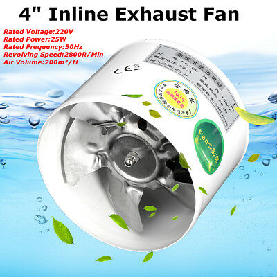 5PCS 4'' Inline Duct Fan Booster Exhaust Blower Air Cooling Vent Metal Blade
