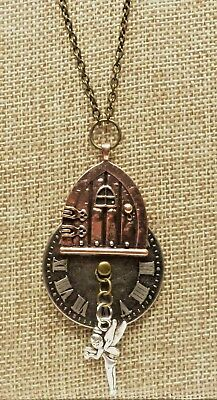 A3) Steampunk Copper, Brass, & Antique Silver-tone Fairy, Fairy Door, & Necklace