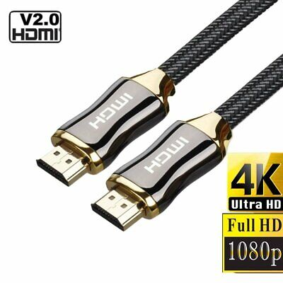 Braided Ultra HD HDMI Cable V2.0 3D 4K High Speed Audio HDTV  Gold Plated Cable