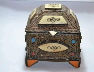 Antique arabic copper box handmade beautiful jewellery brass home decor