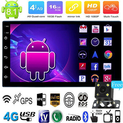 """7"""" Double 2Din Touch Android8.1 Quad Core Car Stereo MP5 Player GPS FM Radio Cam"""