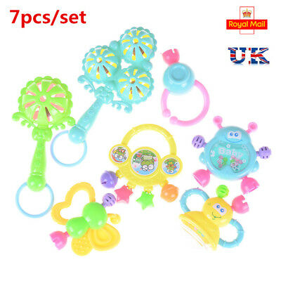 7Pcs Newborn Toddler Baby Shaking Bell Rattles Teether Toys Kids Hand Toy`AQ