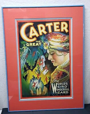 Carter The Great Original World's Weird Wonderful Wizard Window Card Poster Art