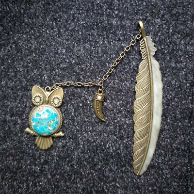 Vintage Styles Copper Color Wolf Tooth Owl Feather Bookmark School Supplies one