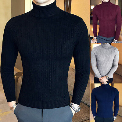 Men'S Winter Knitted Turtleneck Slim Fit Lightweight Cable Knit Sweater Pullover