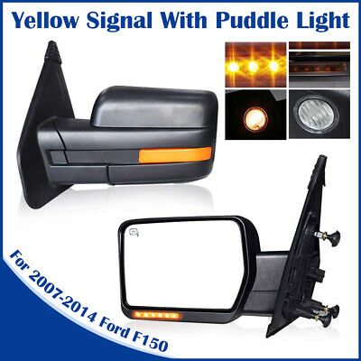 For 07-14 Ford F150 Power Heated With Puddle Yellow Signal Towing Mirrors 2PC
