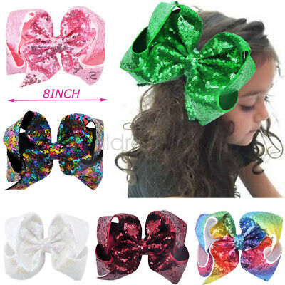 8 inch Large Girls Big Sequin Shining Hair Bow Alligator Clips Hair Accessories