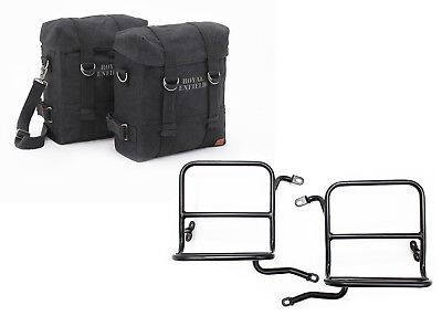 Royal Enfield Classic 350cc 500cc Military Pannier Pair Set Black With Fitting
