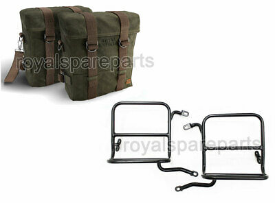 Royal Enfield Classic 350cc & 500cc Military Pannier Pair Set with Fitting Frame