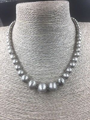 Antique Vintage Old Mexican STERLING Silver IGUALA 925 Bead Necklace