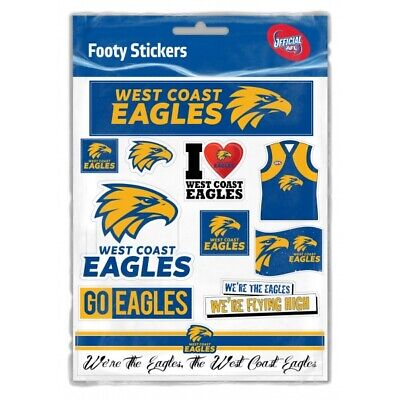 West Coast Eagles Official AFL Logo Sticker Sheet Free Postage