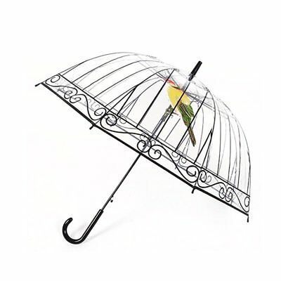 Transparent Umbrella Long-handle Bird In The Cage For Sunny And Rainy Days DB