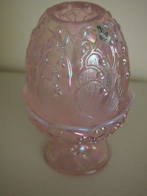 "Fenton - Large Pink  ""lily Of The Valley"" Fairy Lamp - A Huge 19Cm Tall"