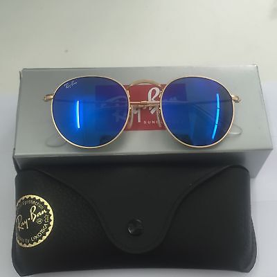 Ray-Ban Sunglasses RB 3447 112 17 ROUND Metal Blue Mirror Flash Lens Gold 091b698594a3