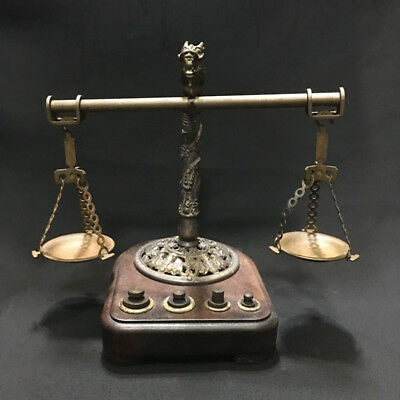 Antique Vintage Faucet Brass Scale Balance With Wooden Base Office Boss Gift