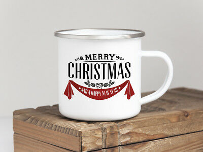 EMAILLE BECHER Retro Tasse MERRY CHRISTMAS rote Stoff Weihnachten Winter