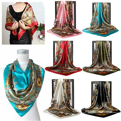 Women Silk Satin Large Square Scarf Ladies Luxury Carriage Size 90 x 90 cm AU