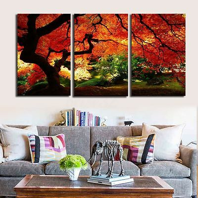 Large Red Autumn Jungle Canvas Abstract Painting Print Wall Home Decor 3Pcs SET