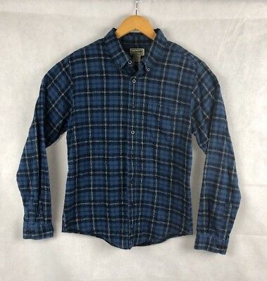 Vintage LL Bean Flannel Shirt Men's XL TALL PLAID 100% Cotton Blue Black