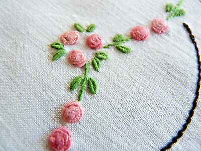 DAINTY GRUB ROSES Vintage Hand Embroidered Doily Pair White