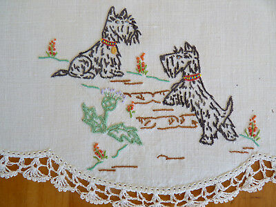 WEE SCOTTIE DOGS  Large Doily Table Centre Vintage Hand Embroidered