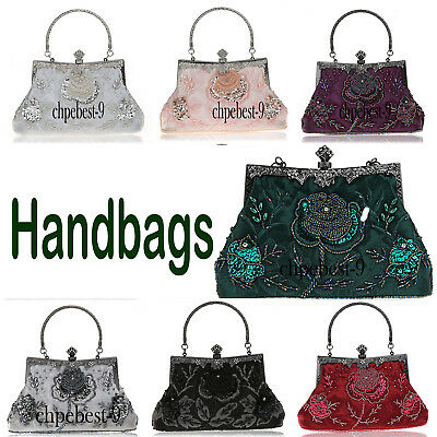 Vintage Party Bags Evening Handbag Retro Lace Elegant Beaded Sequin Clutch Purse