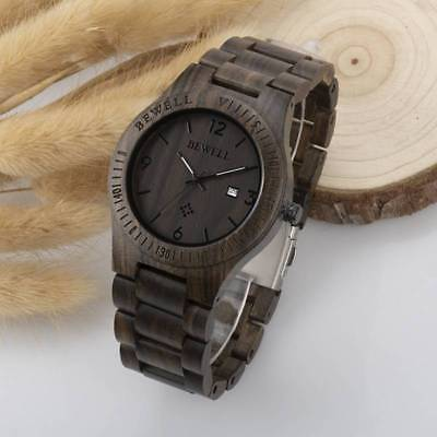 BEWELL Men's Wood Watch Quartz Anology Date Display Fashion Wooden Strap Watch