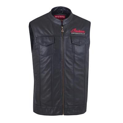 Indian Motorcycle Mens Outsider Black Leather Vest