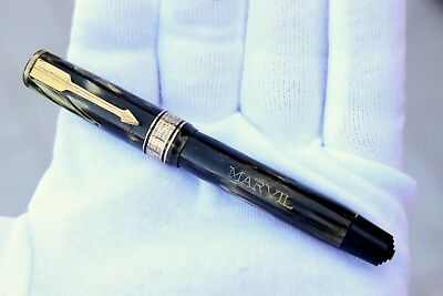 MARVIL By AURORA ( Optima Style )-Fountain Pen-GREEN IVORY CELLULOID / GOLD-30's
