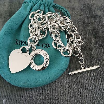 Tiffany & Co Silver Toggle Blank Heart Tag Necklace Donut Lifesaver