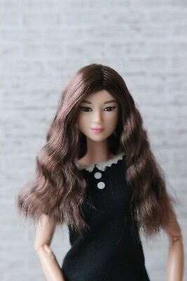 Brown Wavy wig for Barbie doll 4 inch