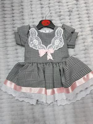 Baby Girl Ribbon Bows Lace Trim Party Spanish Dress black white pink puff sleeve