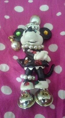 Vintage strass brooch Walt Disney Mickey Mouse Bully 1984 Figur Brosche