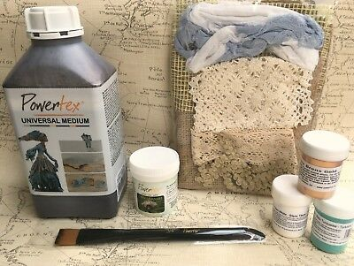 Powertex Starter Kit - Fabric Hardener varnish pigments brush