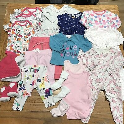 0-3 Months Baby Girl Clothes Bundle - Outfits, Sleepsuits, Bodysuits, Hat & Sock