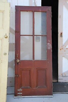 "EXTERIOR ANTIQUE WOOD DOOR 4 PANES GLASS 33 3/4"" x 82 1/2"" x 1 1/8"""