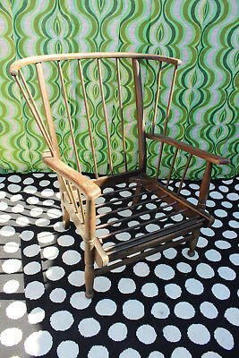 Vintage Mid Century 60s Ercol style bow back wooden armchair retro lounge chair