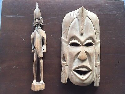 Vintage.. African Tribal Carved Wooden Mask And Statue