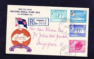 Singapore Lion City Malaya Fdc 4 Sep 1955 Ships Stamps Reg Private Localcover W
