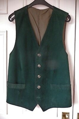 """Men's vintage forest green real suede casual waistcoat 38/40"""" chest."""
