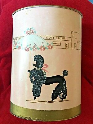 Vintage Pink Metal Waste Paper Trash Can With Hand Painted French Poodle 50's