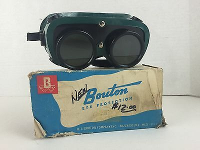 Vintage Bouton Dark Lens Safety Goggles Steampunk Made In USA