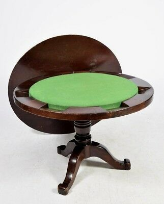 RARE & SUPERB  mid c19th GAMING / GAMES TABLE WITH 7 CARD SLOPES & GREEN BAIZE