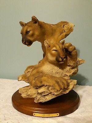 Mill Creek Studios #3595 The Lair Cougars Sculpture Randall Reading Signed