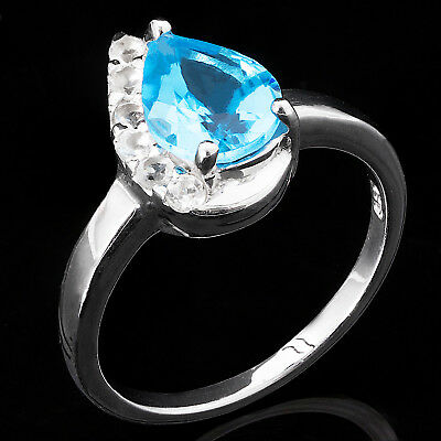 100% Natural 9X7Mm Swiss Blue Topaz White Topaz Sterling Silver 925 Ring Size 7