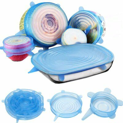 6PCS Silicone Stretch Lids Keep Fresh Food Pan Bowl Cup Dish Reusable Cover Set