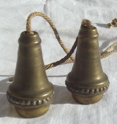 Pair of Vintage French Brass Pulls Light Blind Curtain Pull Weight