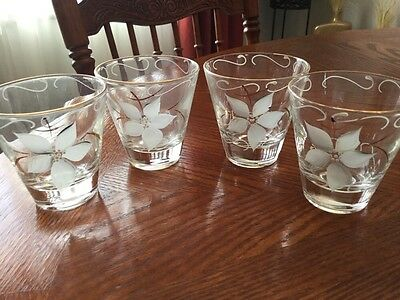 Shot Glasses - Vintage Clear Glass Gold Rimmed Hand Painted Floral Motif Set/4