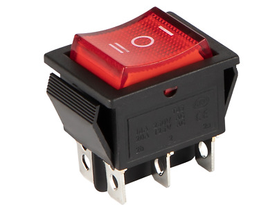 Double Pole Rocker Switch 16A 240V, 20A 125V RED BLUE ON-OFF 6 Pin ILLUMINATED